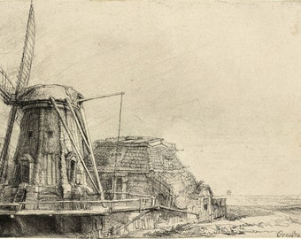Reproductions of Rembrandt Etchings.  The Windmill, 1641. Fine Art Print.