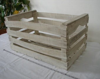 shabby chic wooden crate,old white wooden fruit merchants crate, storage, bedside, bookcase, Paris apartment
