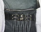 Sling Bag Upcycled Black Denim with Silver Toned Skull and Studs Repurposed Cuff Bracelet Bag Again