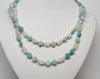 Amazonite and Moonstone Multi-Strand Necklace