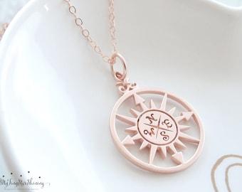 ROSE GOLD Compass necklace Compass Rose Necklace Rose Gold Necklace Compass Jewelry Graduation Gift Best Friend necklace
