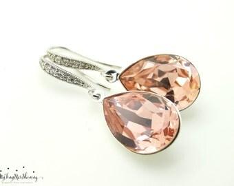 Blush Pink Earrings Blush Bridal Jewelry Blush Bridesmaid Jewelry Set Bridal Earrings Soft Pink Bridal Jewelry
