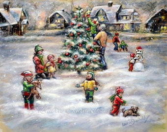 "Print, Christmas Painting, Christmas tree, snow, Holiday art, original art  Canvas & paper,  ""Merry Christmas Season"" Laurie Shanholtzer"