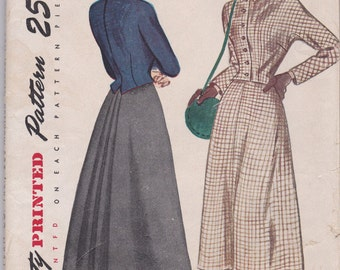 Nicely Tailored 1940s Two Piece Dress or Suit Pattern Simplicity 2606 Size 12 Uncut
