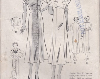 1930s Princess Seam Dress Pattern Butterick 6900 Bust 33