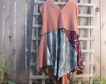 Upcycled Plus Size Lagenlook Tribal Tunic Shirt/ Funky Asymmetrical Eco Blouse/ Hi Lo Womens Tops 2X/3X