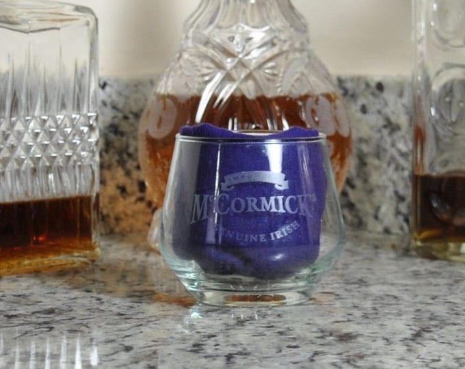 Vintage Mc'Cormick's Irish Cream Whiskey, Two Etched Tumblers, Beveled Base, Barware, Ireland, Irish Whiskey, Whiskey Glass, Tavernware