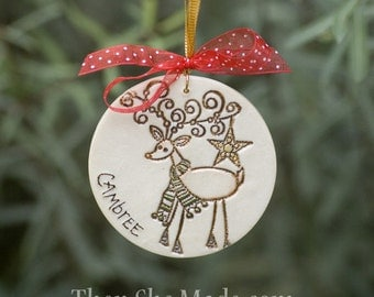 Personalized Reindeer Christmas Tree Ornament