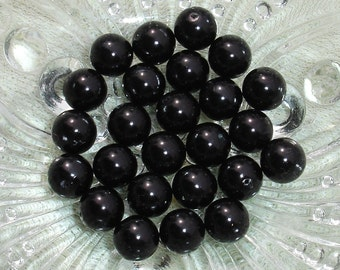 10mm Black Glass Beads - 25 pcs - Jewelry Making Supplies