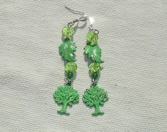 Leaf and Tree Dangle Earrings - FREE Shipping