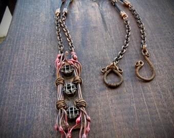 Copper Tendril Pendant Necklace