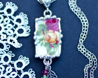 Necklace, Broken China Jewelry, Broken China Necklace, Old Country Rose, Sterling Silver