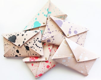 Veg Tanned Leather Envelope Clutch - Splatter Print