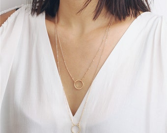 Delicate simple everyday layered double chain circle necklace - infinity necklace