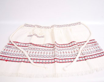Vintage Hand Woven Apron Effies Yarmouth NS Child Aprons Pleated Red Black Gray Fringed Edges