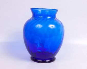 Vintage Cobalt Blue Swirl Glass Vase Floral Arrangement Centerpiece Blue Decor Indiana Glass Co Hand Blown