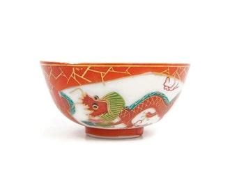 Vintage Asian Rice Bowl Red Dragon Motif Phoenix Tea Bowl Oriental Porcelain Chinese Soup Noodle Bowl Hand Painted