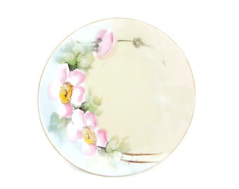 Vintage Silesia Plate Pink Wild Roses Pastel Hand Painted German Collector Plate