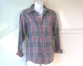 Small 1970s Grey Plaid Flannel Shirt - Retro Country Vintage Flannel Shirt; Outdoorsy Plaid Long Sleeve; Free Shipping/U.S.