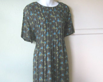 Blue-Forest Green Medium '80s Maxi Dress; Small Floral Print~High Waist Rayon Short Sleeve Maxi; Free Shipping/U.S.