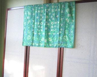 """Green & Blue Floral Vintage Vera Scarf - Large, Blue/Green Silk Scarf - 26"""" Vintage Scarf"""