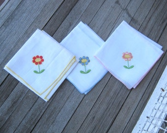 Set of 3 Embroidered Daisy Hankies~Blue Daisy, Pink Daisy, Red Daisy Hankie~Mod Flower Bridesmaid/Gift Hankies; Free Shipping/U.S.