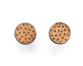 Polka dot studs - dotted earring studs - polka dot wooden earrings - laser cut small studs