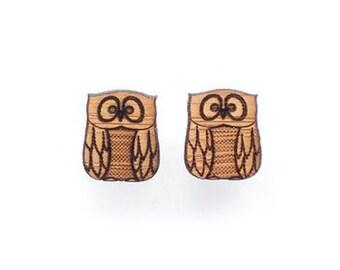 Owl earrings -  cute earrings - owl studs - owl jewellery bird earrings by One Happy Leaf - cute earrings