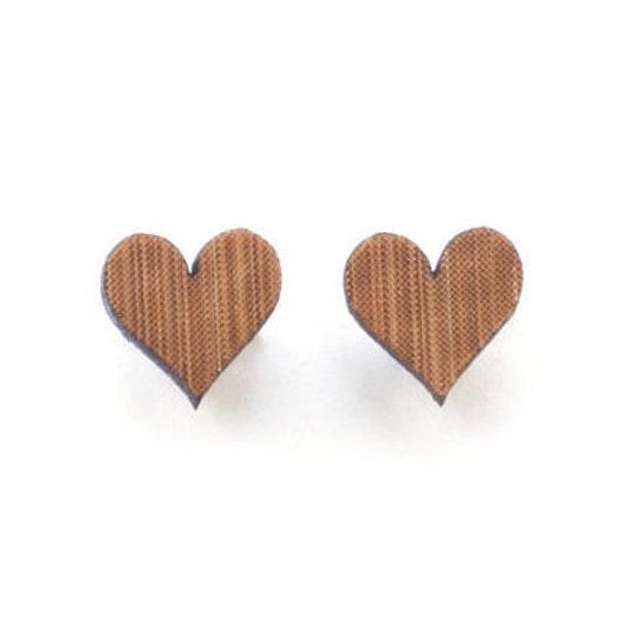 Love heart studs - small earring studs - eco friendly laser cut wooden earrings - wood studs
