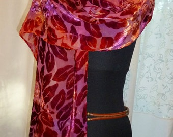 Devore Silk and Rayon Velvet Panne Leaf Scarf with Silk Fringe in Scarlet, Red Violet, Cayenne Pepper Red, Hand Dyed