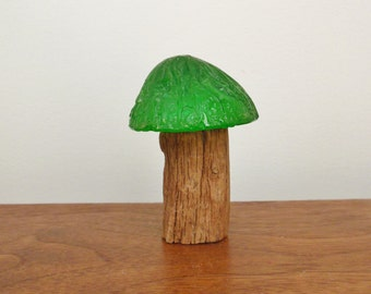 Lucite and Wood Palm Tree Paperweight or Green and Wooden Mushroom
