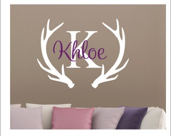 Rustic Wall Decal Personalized Girl Name Decal Antlers Deer - Custom vinyl wall decals deer