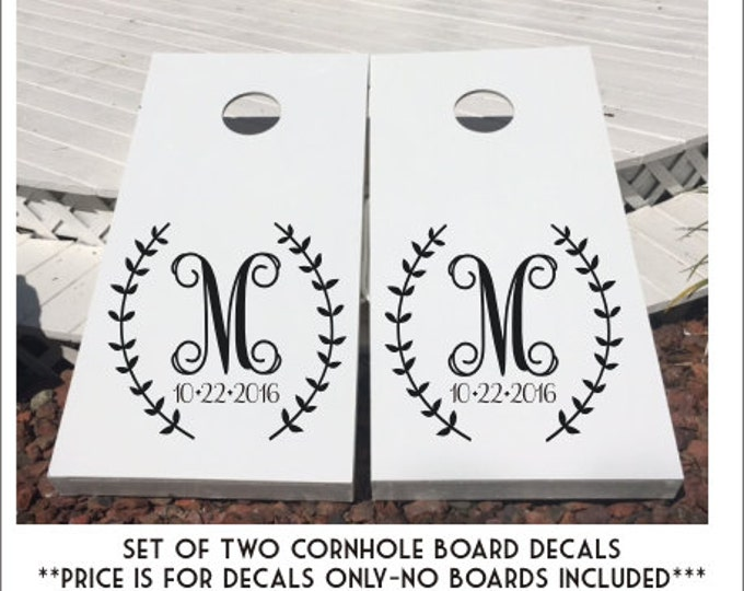 Wedding Cornhole Decals Monogram Cornhole Decals Set of Two Rustic Monogram Decal Wedding Decor Corn Toss Game Decals Board Decals Wedding