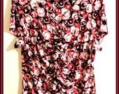 Ladies Short Sleeve Print Shirt Red Black Salmon Cream by Alfani