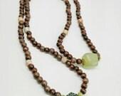 Unisex Green Man Necklace Ceramic Wood Soapstone Amber Stone Nugget Serpentine Jade Healing Stones Hippie Boho Earth Day Nature Jewelry