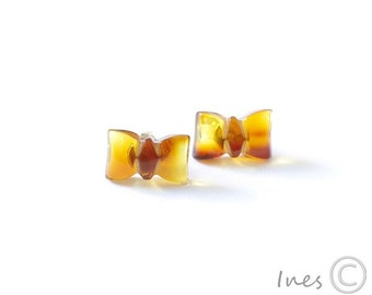 Cognac Baltic Amber Ribbon Earrings
