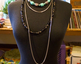 1980s Group of Vintage Necklaces Turquoise Silver Black Southwestern Chain