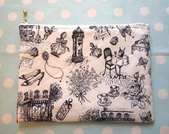 Medium sized zipper pouch, passport pouch, travel pouch, cosmetic pouch- sketching print, black and white print