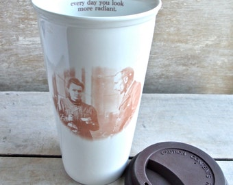 Radiant Marie Curie Travel Mug, Takeaway Tumbler, Coffee or Tea cup, Tragic Science Heroine, Geek Fangirl, Macabre Humor,  Ready to Ship