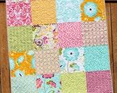 Halle Rose, Baby Quilt, Baby Girl Quilt, Floral, Magenta, Aqua, Gray, Bright, Modern, Baby Bedding, Handmade, Crib, Nursery Bedding, Blanket