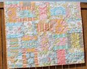 Priscilla Baby Quilt, Baby Girl Quilt, Crib Quilt, Handmade Quilt, Pink, Green, Blue, Yellow, Gray & White, Lila Tueller, Modern Baby Quilt