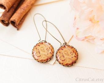 Indian paisley flowers earrings, tribal jewelry, native earrings, boho jewelry, indian summer, orange