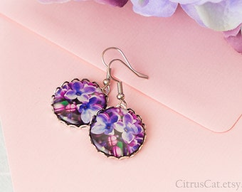 Dark purple earrings with lilac flowers