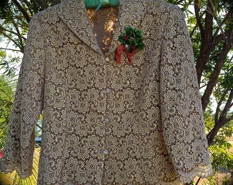 Vintage Romantic Gold Lace  Jacket St. Patricks Day Leprechaun Fairy Boho Sweet  Size Small 4