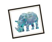 HALF OFF PATTERNS Sale Rhino Cross Stitch Pattern - Modern Cross Stitch Pattern - Origami Animal Cross Stitch Pattern - Geometric Animal Cro