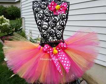 Baby Tutu - 1st Birthday Tutu - Girls Tutu - Cake Smash Tutu - Hot Pink Orange and Yellow Tutu - Size 6 month - 6T