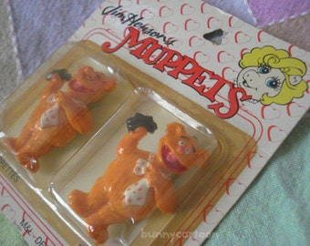 Muppets Fozzie Bear set of 2 Vintage 1989 MIB Hair Clips