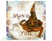 Harry Potter Sorting Hat, Gryffindor, Hufflepuff, Ravenclaw, Slytherin. Where to put you?