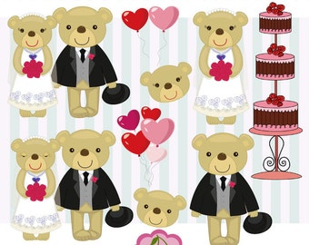 Bride and Groom Bears Digital Clip Art set,Wedding clip art,Wedding Bears clip art-for Personal and Commercial Use