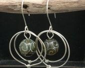 Carved Jade Circle Earrings in Sterling Silver